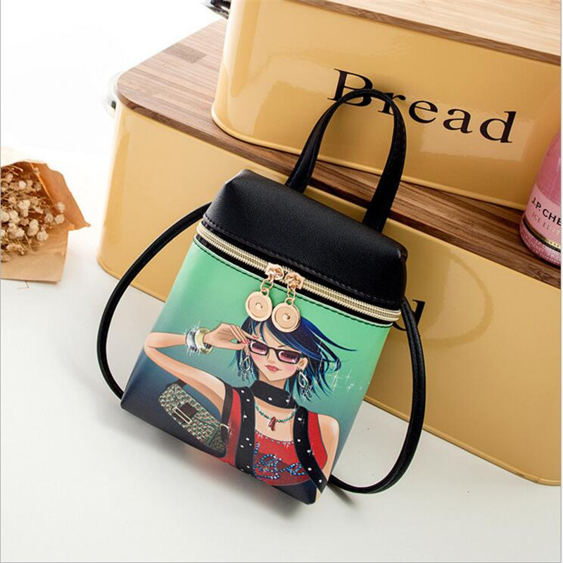 Women's Mobile Phone Bag Cartoon Female Messenger Shoulder Bags Crossbody Mini Bear Handbags Cute Fashion PU Leather Bags Pouch
