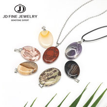 JD Natural Stone Pendants Rainbow Jasper Korea Jade Cherry Agate Flower Agate Necklace Oval Shape Flat Bead Women Random Size(China)
