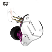 Гибридные наушники вкладыши KZ ZSN 1BA + 1DD, DJ монитор, спортивные наушники для бега, Hi Fi гарнитура, наушники вкладыши со съемным разъемом, 2 контактный кабель, KZ BA10