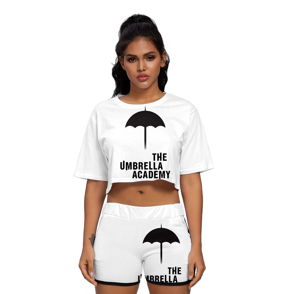 The Umbrella Academy Two Piece Outfits Women Crop Top T-shirt Track Suit Two Piece Set Top and Shorts Set Ladies Tracksuits