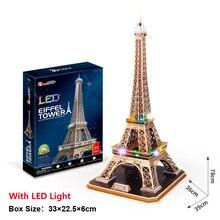 3D Puzzle Paris Eiffel Tower DIY Toy 84 Pcs LED Lighting Miniature Paper Model Building Assemble Game Educational Toys Kid Gifts