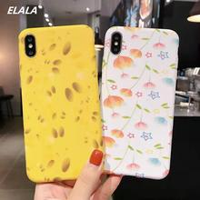ELALA Marble Case on sFor iPhone X R Matte Soft TPU Cover For 6S 7 8 Plus  Xr Xs Max Texture Full protection Cases