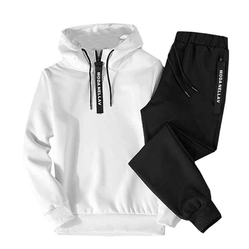 ฤดูใบไม้ร่วง 2019 รองเท้ากีฬาลำลองบุรุษ hip hop hooded sweatshirt + กางเกงชุดสูท