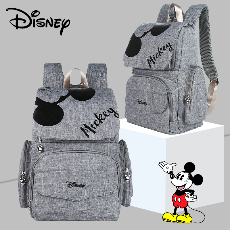 Disney Pre-design Multifunctional Baby Care Bag For Mom Fashion Double Shoulder Diaper Bag Nappy Backpack With Hooks Gray Black