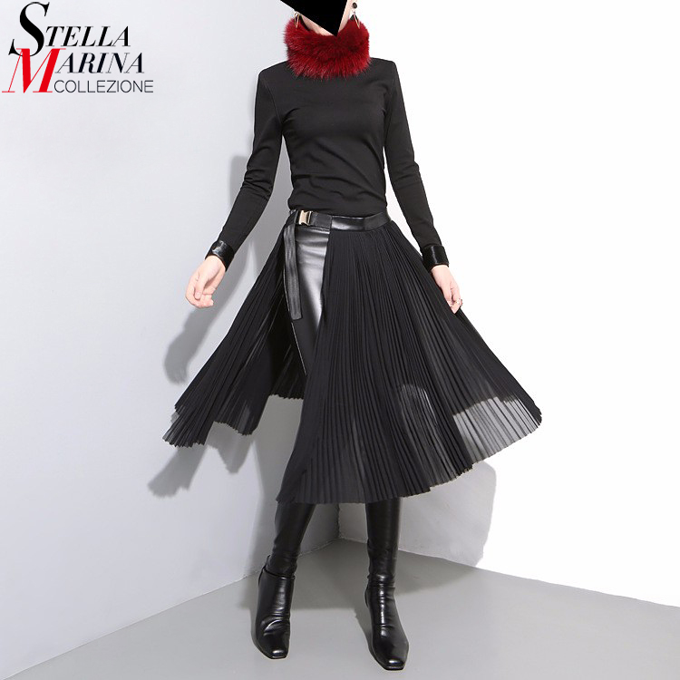 2020 Korean Style Women Solid Black Pleated Chiffon Skirt Adjustable Leather Belt High Waist Split Ladies Unique Midi Skirts 876 image