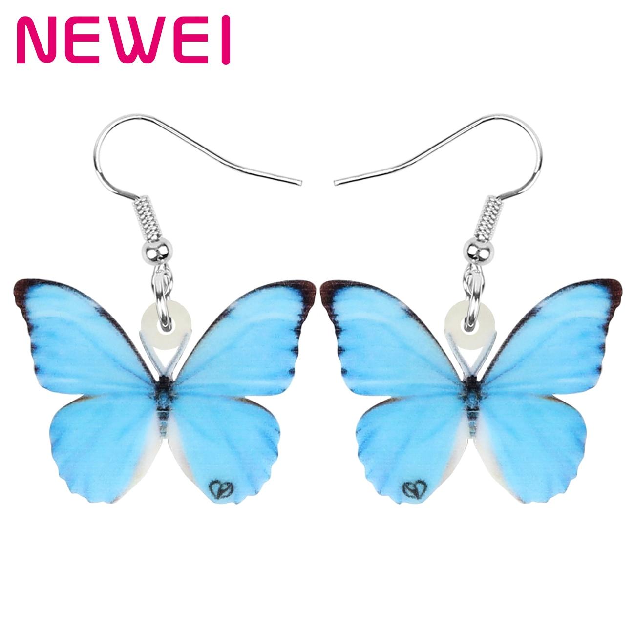 Newei акриловый Blue Morpho бабочки серьги большого размера зимнее большое длинное броши в виде бабочек, насекомых, животных, с болтающимися частям...