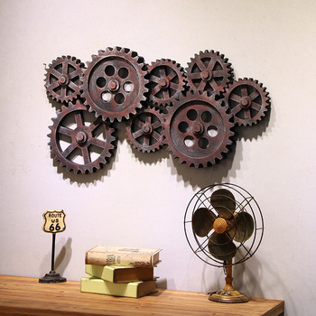 Vintage Industrial Wind Wall Hangings Wooden Creative 8 Gears Wall Hanging Creative Home Bar Soft Wall Hangings