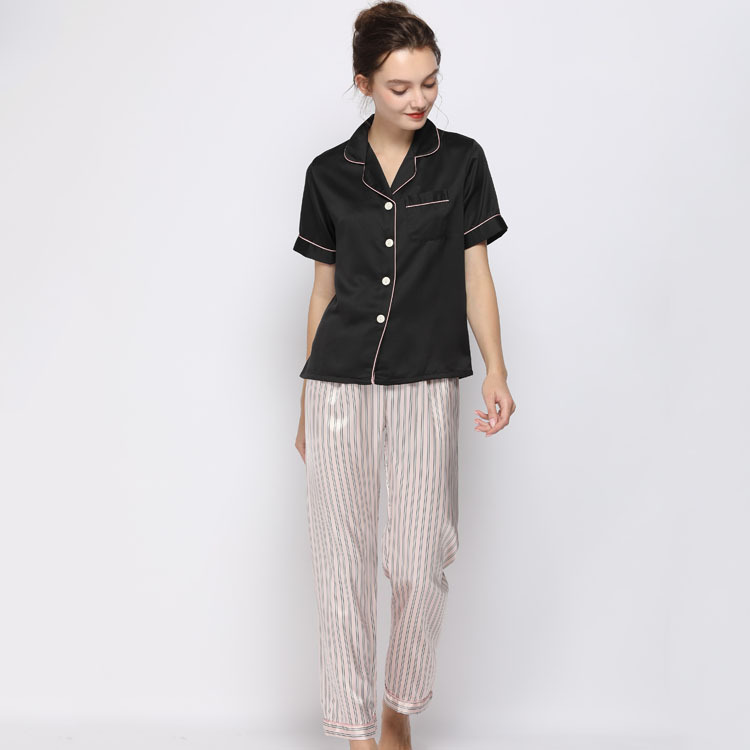 Lisacmvpnel Spring New Pajamas Woman Silk Suit Short Sleeve Trousers Loose High Archives Sleepwear