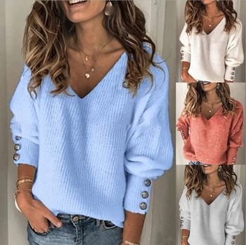 2020 Winter Pullover Sweater Women Knitted Tops Button Boho Plus Size Casual Long Sleeve Pull Female Solid Sweaters Pullovers 2019 new women sweaters and pullovers autumn winter long sleeve pull femme striped pullover female casual knitted sweater