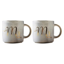 Coffee Mug Set: Mr. And Mrs. Marble Colored Ceramic Mugs, Set Of 2, Elegant, Romantic, Durable, Great For Wedding Gift, Valentin(China)