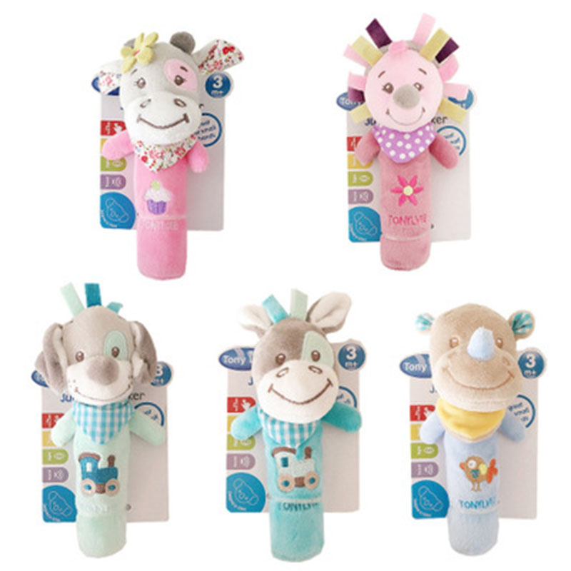 New Baby Rattles Mobiles BB Sticks Soft Cow Plush Doll Crib Bed Hanging Hand Catches Animal Toy Doll Kids Toy SA979773