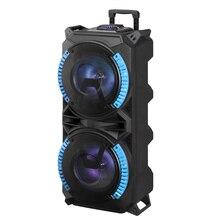 Беспроводная портативная акустическая система на колесиках с высокой мощностью, совместимая с Bluetooth, для помещений и улицы, DJ звук, стерео громкий динамик с USB