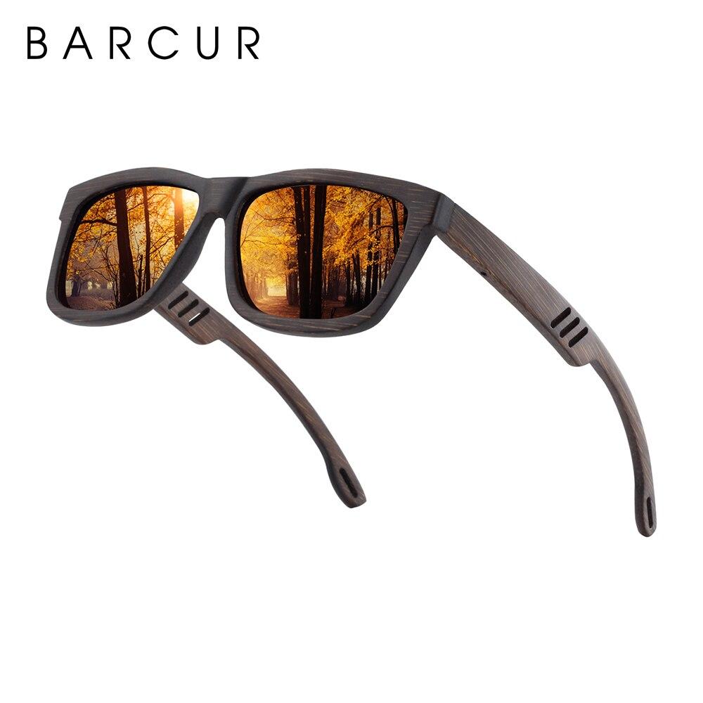 BARCUR, квадратные солнцезащитные очки, бамбуковые, женские, коричневые, деревянные, солнцезащитные очки, мужские, поляризационные, Ретро стил...