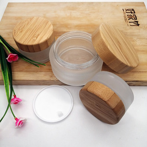 Image 5 - 30g 50g 100g frosted glass cream empty jar ecological friend bamboo lid skin care cream container cosmetic packaging