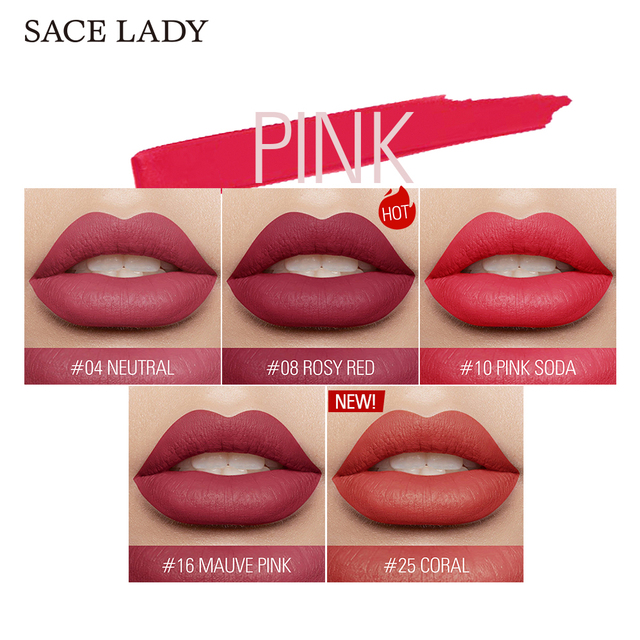 SACE LADY 19 Color Waterproof Matte Lipstick Long Lasting  Lipsticks Lip Sticks Easy to Wear Matte Makeup Lipstick Cosmetic 4