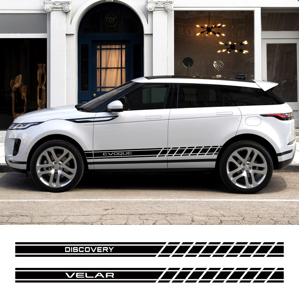 2PCS Car Door Side Skirt PVC Stickers For Land Rover Discovery 3 4 2 Freelander Evoque Velar Autogiography SVR Auto Accessories