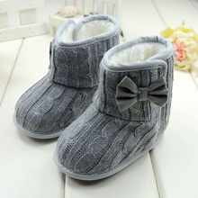 Fashion Baby Bowknot Soft Sole Winter Warm Shoes Boots Woolen Yarn Soft Butterfly-knot Round Toe Boots winter Drop Ship 2019(China)
