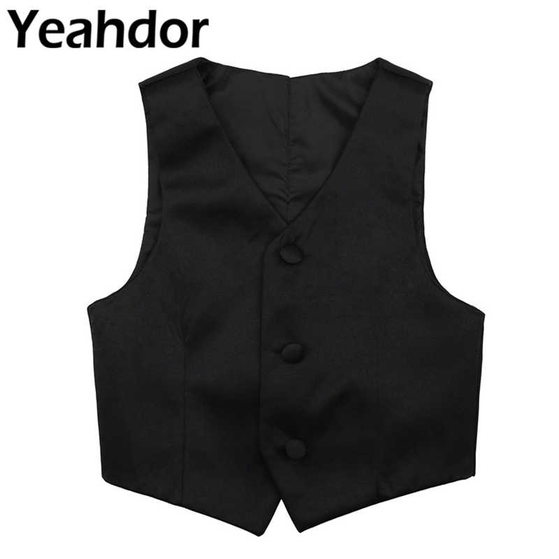 Kids Boys Shiny Floral Pattern Sleeveless V-neck Gentleman Vest Formal Suits Waistcoat Children Vest Wedding Party Daily Clothes