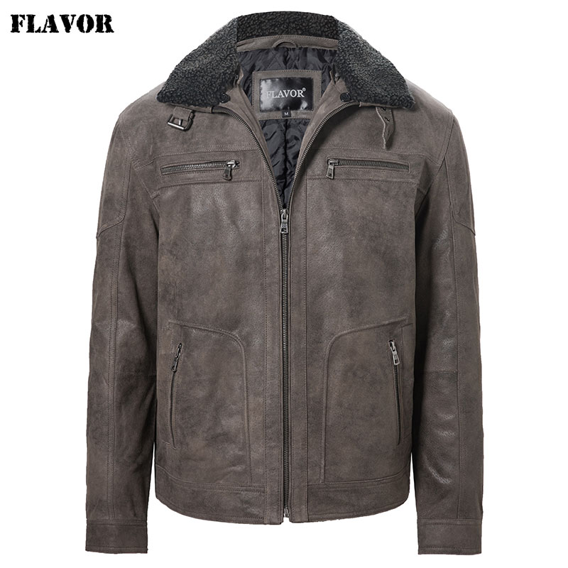 FLAVOR Men's Genuine Leather Jacket With Removable Fur Collar Men Winter Warm Coat