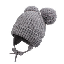 Fashion Baby Earflap Hat Winter Warm Toddler Kids Boys Girls Beanies Cap with Chinstrap Stay On Infant Pompom Polyester Soft