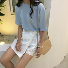 Camiseta Harajuku para mujer, camisa corta coreana, camiseta azul lisa, blusas para adolescentes, ropa para mujer 2021