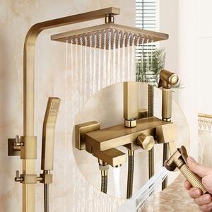 Image 2 - Antique Bronze Rain Shower Set with Bidet Spray Bathroom Rainfall Shower Faucet Soild Brass with Hand Shower ELS4102
