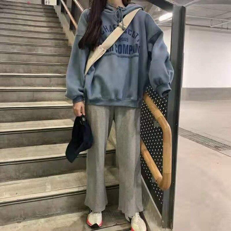 Осенне-зимний женский спортивный комплект из двух предметов, корейские свободные толстовки с длинным рукавом в стиле Харадзюку + повседнев...