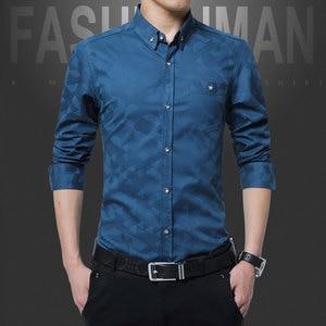 Image 2 - Hot Sale New Fashion Casual Men Shirt Long Sleeve Jacquard Weave Slim Fit Shirt Men Cotton Mens Dress Shirts Men Clothes 5XL