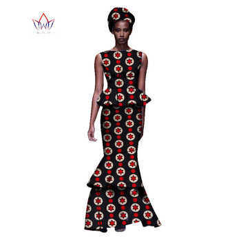 2020 New African Dresses For Women Dashiki Ladies Clothes Ankara O-Neck Africa Clothes Two Pieces Set Natural 6xl None WY1054 - 11, M