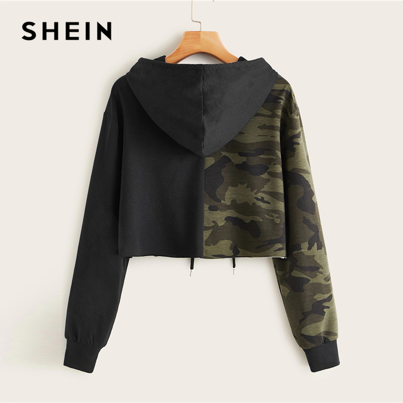 SHEIN Two Tone Camo Panel Hoodie Crop Sweatshirt Women Pullover Autumn Cut and Sew Drawstring Sporting Casual Sweatshirts 2