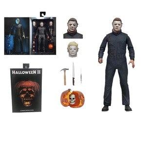 Image 5 - 18CM oryginalny NECA nowy Halloween Ultimate prawdziwe ubrania michael myers figurka PVC wspólne ruchome kolekcja zabawka prezent