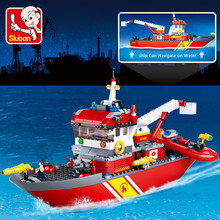 429Pcs City Fire Police Sea Rescue Boat Ship Model Building Blocks Sets LegoINGs Technic Bricks Toys for Children Christmas Gift new original banbao 8342 city patrol boat building blocks sets police boats model assemble bricks toys s213