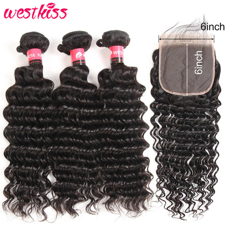 Brazilian Deep Wave Bundles With Closure Swiss Lace Pre Plucked 6x6 Lace Closure With Bundles Remy West Kiss Hair Extensions