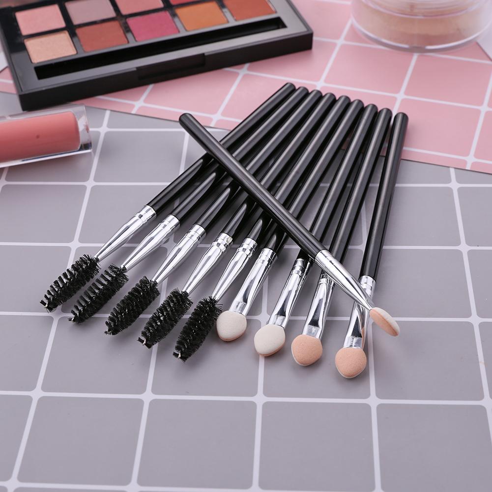 10pcs Major Eyeshadow Sponge Eyeliner Brushes Set Nylon Fiber Easy To Use And Carry Stick Eyelash Brush Mascara Wands