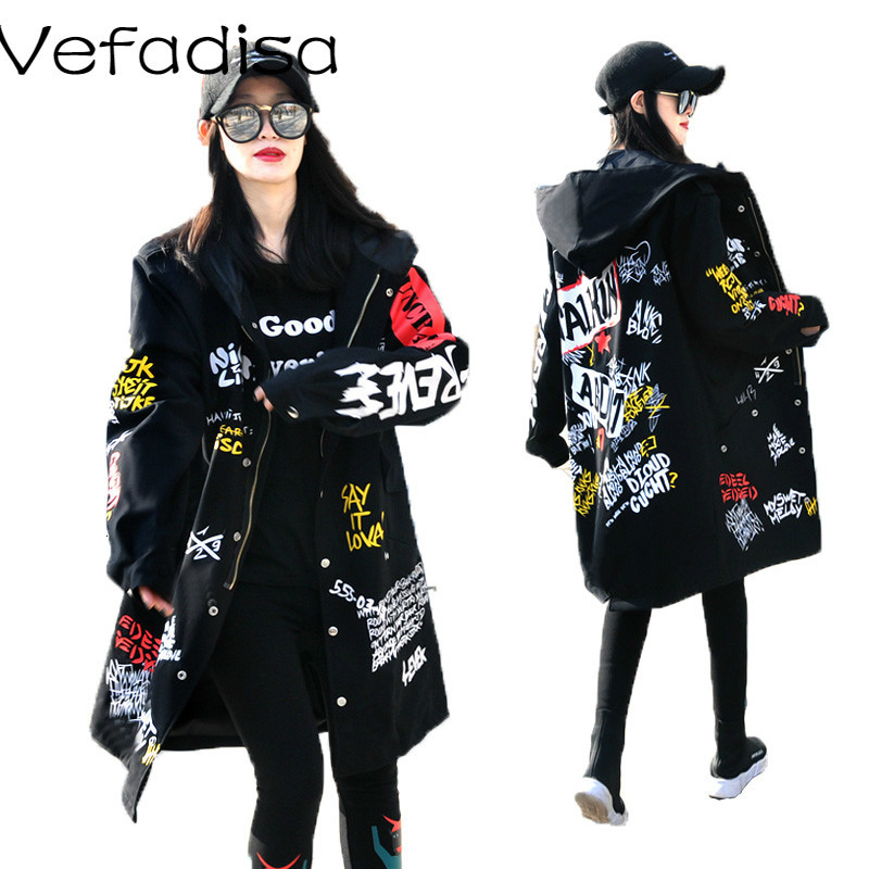 Vefadisa Women Scrawl Overcoat 2018 Autumn And Winter Long Hooded Women Cotton Coat Letter Printing Women Jacket DQ0287