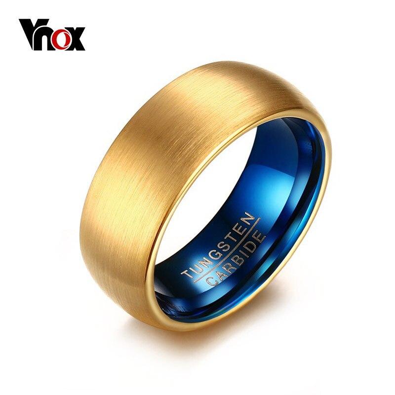 Vnox masculino azul tungstênio anel clássico ouro-cor anéis masculino tungstênio jóias