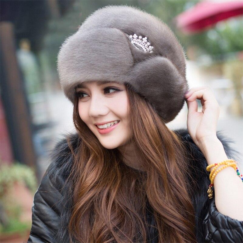 1-Women's New Winter Mink Fur Hats 2020 Ladies Fur Hats New Fashion Ear Protection Crown Hats Winter Warm Fur Straw Hats смотреть на Алиэкспресс Иркутск в рублях