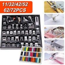 11/32/42/52/62/72 Pcs Multifunctional Domestic Sewing Machine Presser Foot Kit Sewing Machine Supplies Foot Overlock Accessories
