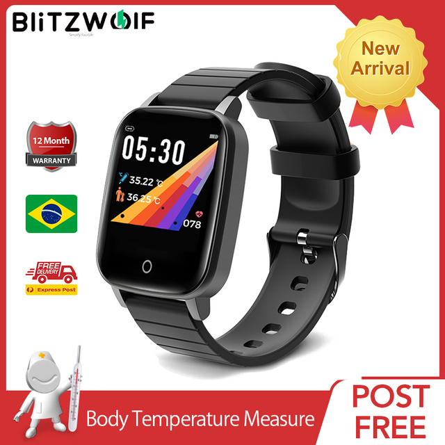 [מדידת טמפרטורת גוף] BlitzWolf BW HL1T Relogio Inteligentes שעון חכם 2020 inteligentes שעונים אימונים אוטומטיים של קצב לב אימוני נשימה תצוגת מזג אוויר שעונים לילדים גברים נשים