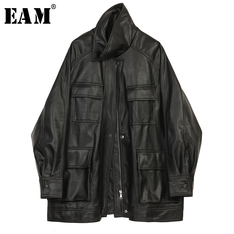 [EAM] Loose Fit Black Pocket Big Size Pu Leather Jacket New Lapel Long Sleeve Women Coat Fashion Tide Spring Autumn 2020 1K617