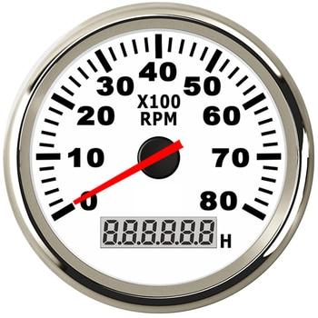 8K Boat Tachometer Marine Tacho Meter Gauge LCD Hourmeter 12V/24V 8000 RPM 85mm Boat Tachometer