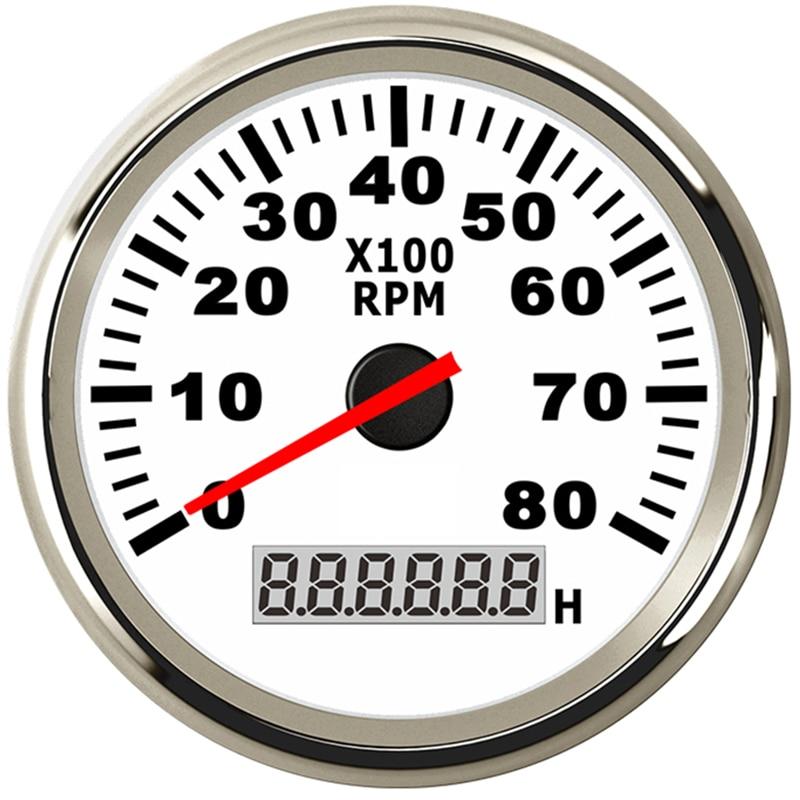 8K Boat Tachometer Marine Tacho Meter Gauge LCD Hourmeter 12V 24V 8000 RPM 85mm Car Tachometer Toerenteller