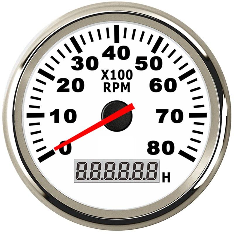 8K Marinhos Barco Tacômetro Tacho Medidor LCD Medidor Horímetro 12 V/24 V 8000 RPM 85 milímetros Barco tacômetro