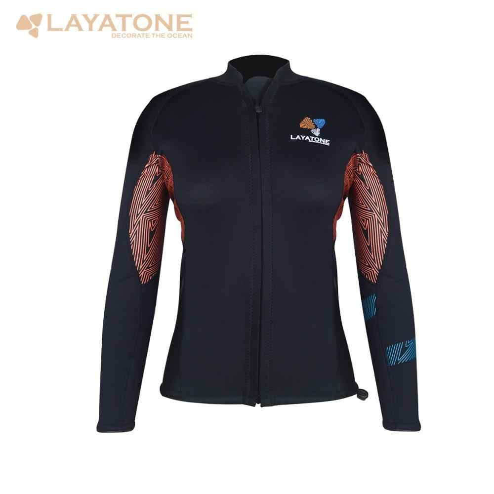 LayaTone 3mm neopren Wetsuit üst kadın sörf tüplü dalgıç kıyafeti ceket uzun kollu Kayk çalışma mayo Wetsuit ceket dalış en
