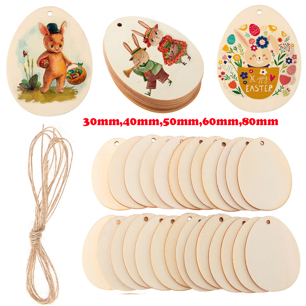 30-80mm Unfinished Blank Natural Wood Easter Eggs Chip Ornament Hanging Tag Wedding Party Decor Embellishments DIY Crafts Dropsh