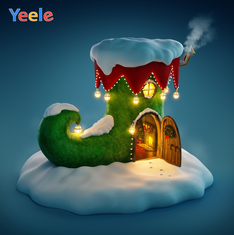 Yeele Christmas Photocall Boots Chalet Lights Snow Photography Backdrops Personalized Photographic Background For Photo Studio in Background from Consumer Electronics