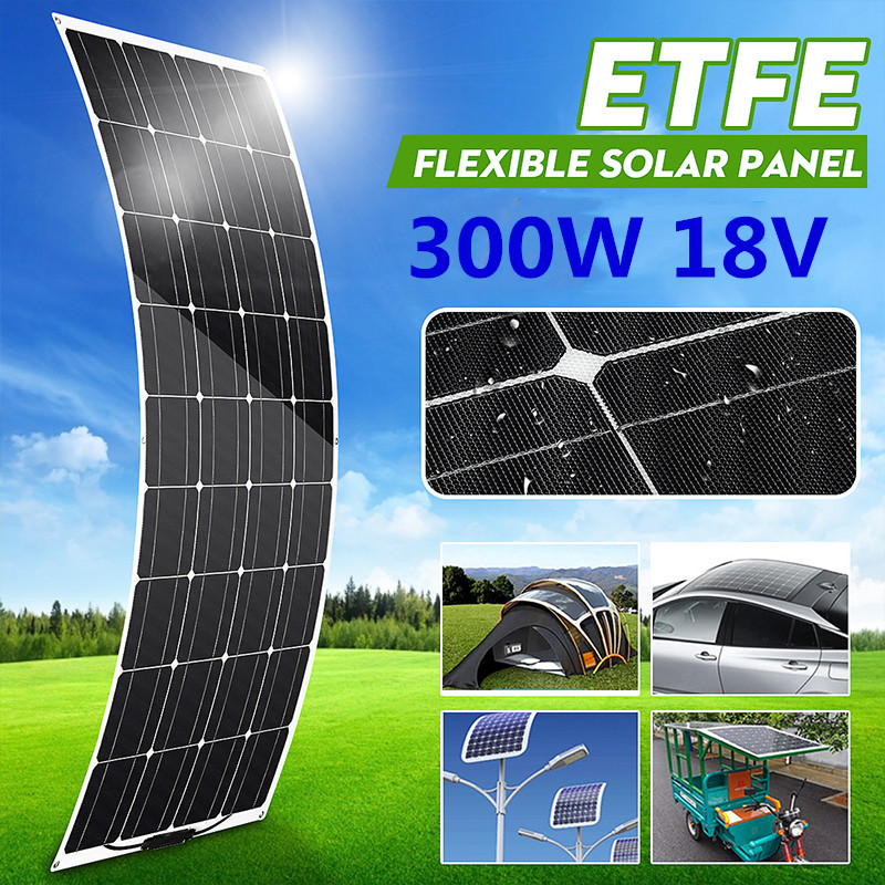 <font><b>300W</b></font> 18V <font><b>Solar</b></font> <font><b>Panel</b></font> Semi-flexible <font><b>Monocrystalline</b></font> <font><b>Solar</b></font> Cell DIY Module Cable Outdoor Connector Battery Charger Waterproof image