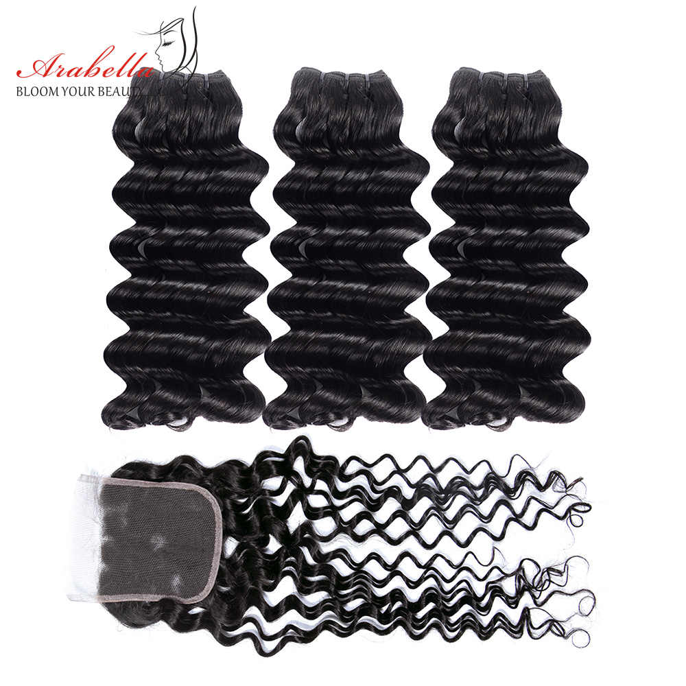 Arabella Supper Double Drawn Deep Wave Hair Bundles With Lace Closure 100% Human Hair Weave Bundles Virgin Hair Extension