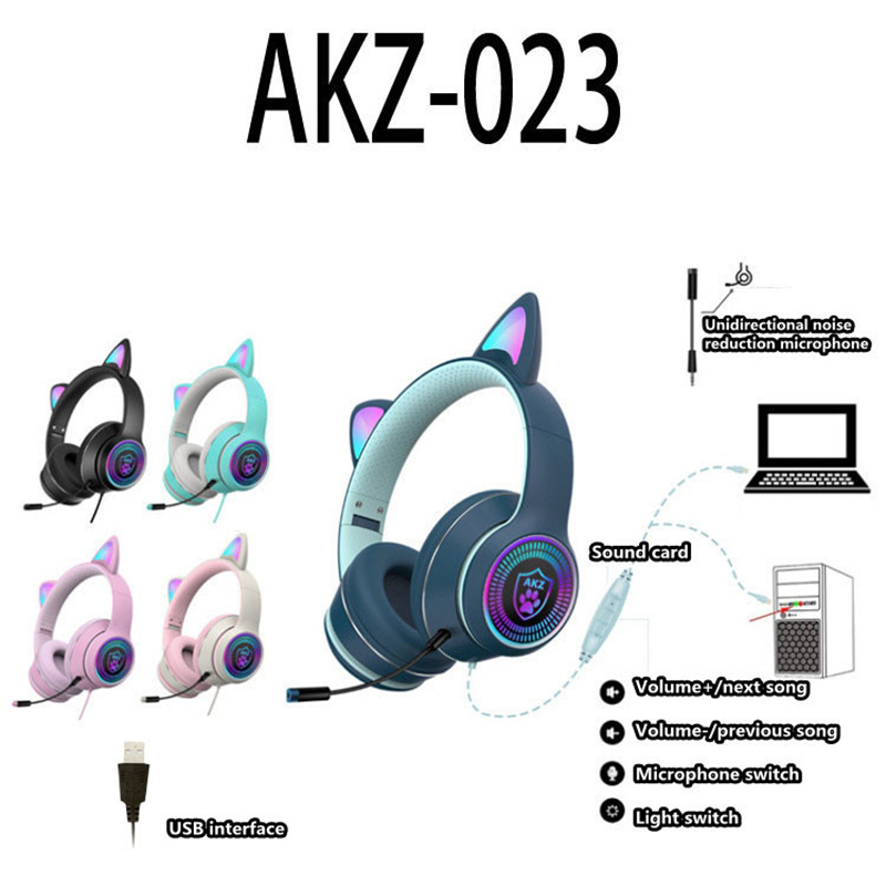 New product girl heart wired cat ear gaming headphones with micr sound card RGB luminous USB interface laptop headset