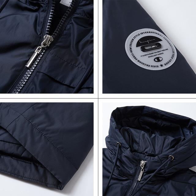 GASMAN Fashion brand blue warm autumn women s jacket Long hooded jacket for women coat solid cotton Female windproof down parka